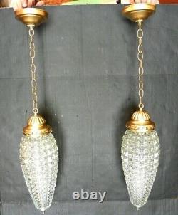 Pair Vintage Hanging Swag Crystal Diamond Cut Lamps Bathroom Entry Pendant
