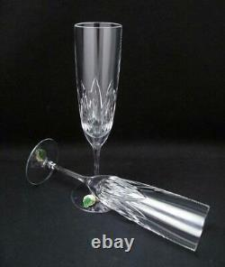 Pair Waterford Cut Crystal Brodey Champagne Flutes Glasses Discontinued