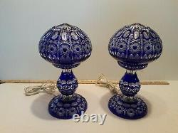 Pair of Bohemian Cobalt cut to Clear Crystal Lamps