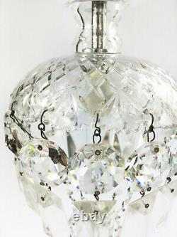 Pair of Vintage Cut Glass Crystal Droplet Chandelier Ceiling Lights