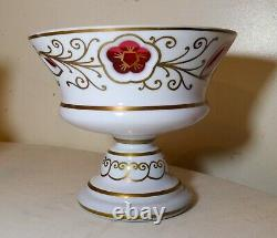 Pair of vintage cut to clear Czech Bohemian white glass crystal vase bowl dish