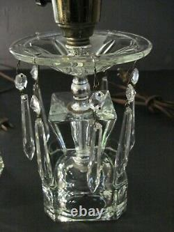 Pair vintage Cut Glass/crystal 15.5 Parlor Table Mantle Lamps Prisms