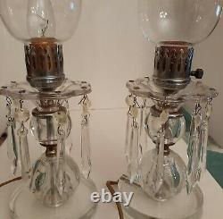 Pair vintage Cut Glass/crystal 16 Parlor Table Mantle Lamps Prisms