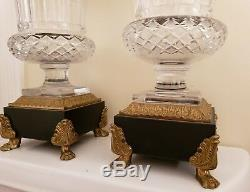 Pr ANTIQUE FRENCH EMPIRE BRONZE & BACCARAT CUT CRYSTAL URNS BEAUTIFUL FRANCE WOW