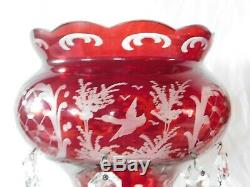 Pr antique Bohemian ruby mantle lustres crystal art glass stag rare set cut old
