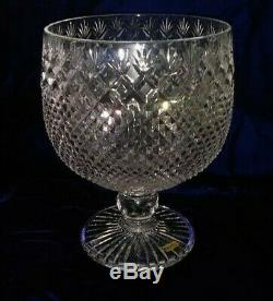 Punch Bowl and Six Champagnes crystal, hand cut, diamond and fan pattern, new