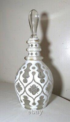 Quality antique white cut to clear Czech Bohemian crystal glass decanter bottle