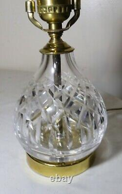Quality vintage Waterford brass cut clear crystal electric table lamp glass