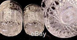 RARE ABP Brilliant Cut Glass GLASS CRYSTAL Pitcher Tumbler Set MERIDEN ALHAMBRA
