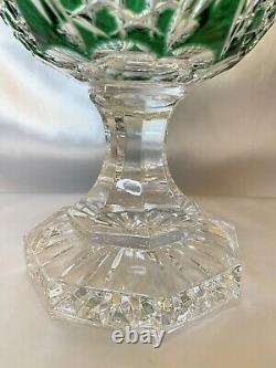RARE Czech Bohemian Emerald Green Cut to Clear Crystal Lidded Pedestal Urn 13