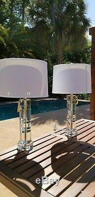 Ralph Lauren Prism Farrah Cut Crystal Cylinder Table Lamp Desk Glass 2 Available