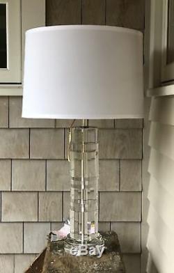 5c569ca573c8 Ralph Lauren Prism Farrah Cut Crystal Cylinder Table Lamp Desk Glass 2  Available