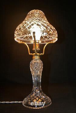 Rare 1940s art deco fine cut glass prismatic crystal toad stool-shape table lamp
