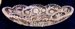 Rare ABP Brilliant Cut GLASS CRYSTAL Oval Low Bowl Tray Thistle Daisy 12