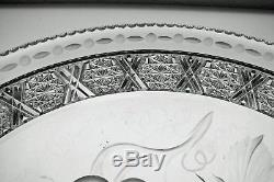 Rare Abp Cut Glass Crystal Frisbee Style Plate Signed Tuthill