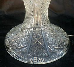 Rare American Brilliant Period Antique Cut Crystal Table Lamp, All Prisms Intact