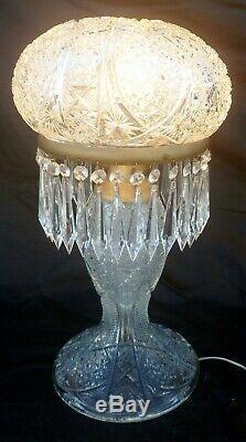 Rare American Brilliant Period Antique Cut Crystal Table Lamp, circa 1900