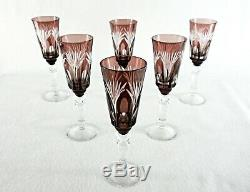 Rare Antique BACCARAT Amethyst Cut to Clear Crystal Glass Set 6 x Sherry Goblet