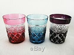 Rare Antique BACCARAT Crystal Cut to Clear Set 8 x Multi-Colored Whiskey Tumbler