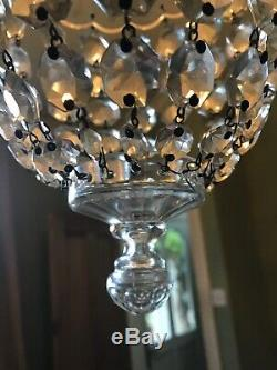 Rare Antique French Cut Crystal Glass Bag Chandelier 1920 -1940s