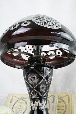Rare Bohemian brown Cut clear glass crystal mushroom lamp 50's