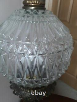 Rare Find Antique Cherub Table Lamps With Crystal Cut Glass Optical Shade/Globe