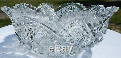 Rare Signed HAWKES ABP American Brilliant Period Cut Glass Bowl 9.5 x 4 tall