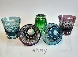 Rare Vintage Ajka Colored Cased Cut To Clear Crystal Whiskey Glasses, Set Of 5