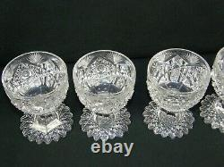Rare set of 5 ABP Libbey Wedgemere Pattern Cut Glass Crystal Punch Cups