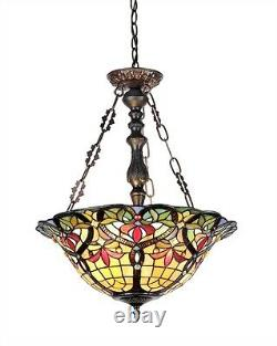 Reverse Pendant Hanging Victorian Design Stained Cut Glass Ceiling Light
