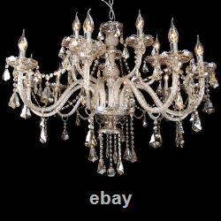 Ridgeyard Ceiling Light Large Cognac Chandelier Crystal Cut Glass Pendant 15 Arm