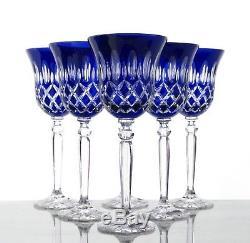 Roman Lead Glass Wine Lens 6 x 8.1oz (421car B) Blue Hand Cut Crystal