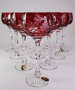 Ruby Cranberry Cut To Clear Set Of 10 Tall Wine Grape Cut Hocks Dresden Crystal