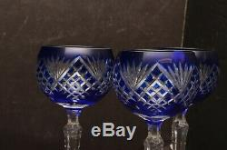 SET 3 COBALT BLUE CUT TO CLEAR CRYSTAL WINE HOCKS GlASSES GOBLET STEMS GODINGER