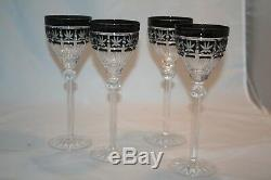 SET 4 Ajka Crystal Hungary Wine Glasses Black Onyx Cut to Clear Radella EUC