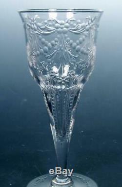 SET Intaglio Engraved Antique Cut Crystal Champagne Flutes Sinclaire Hawkes Webb