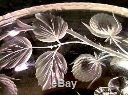 SIGNED TUTHILL ABP BRILLIANT Intaglio CUT GLASS CRYSTAL Footed Bowl Strawberry