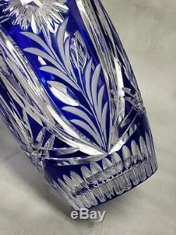 STUNNING Bohemian Czech Cobalt Blue 8 Cut to Clear Glass Crystal Vase RARE