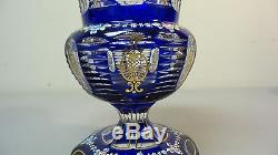 STUNNING COBALT CUT-TO-CLEAR MOSER BOHEMIAN 7.25 ENAMELED CRYSTAL VASE, c. 1880s