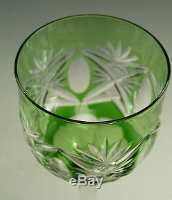 ST LOUIS Crystal Art DECO Cut Coloured Hock Glasses Set of 6