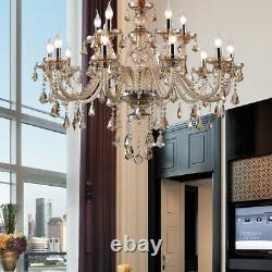 Samger 15 Arm Large Cognac Chandelier K9 Crystal Cut Glass Pendant Ceiling Light
