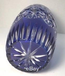 Schonborner Bleikristall Cobalt Cut to Clear Glass Crystal Vase