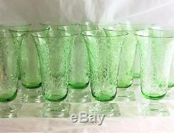 Set 12 Antique Rock Cut Engraved Glass Crystal green Water Goblets Ice Tea Juice