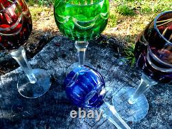 Set 4 Bohemian Cut to Clear Crystal Multicolor Wine Glasses