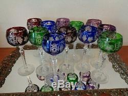 Set Of 12 Ajka Marsala Cut To Clear Crystal Wine Goblet Glasses 8 1/4