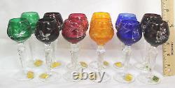 Set Of 12 Colorful German Cut Crystal Cordials 5