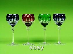 Set Of 4 AJKA King Louis Cased Mouth-Blown Hand Cut To Clear Crystal Wine Glass