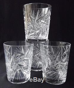 Set Of 4 Beautiful Vintage American Cut Crystal Barbara Flat Tumbler Glasses