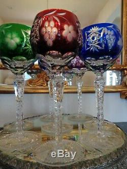 Set Of 8 Ajka Marsala Cut To Clear Crystal Wine Goblet Glasses 8 1/4 Tall