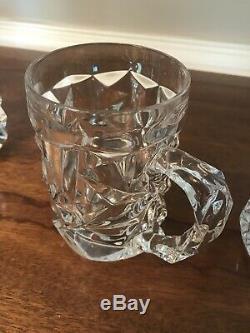 Set Of Four Tiffany & Co Rock Cut Beer Mug Crystal Mugs Unused